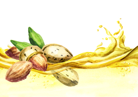 Almond oil wave, watercolor