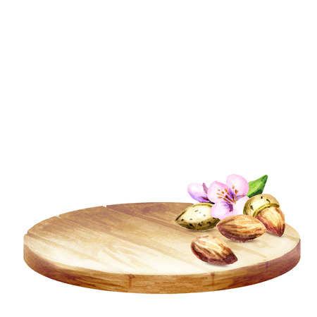 Background with platter and almonds. Watercolor Stock Photo
