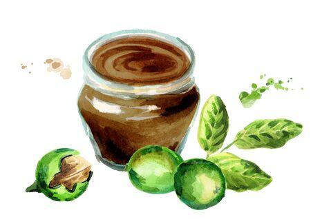 Walnut jam. Watercolor hand drawing illustration