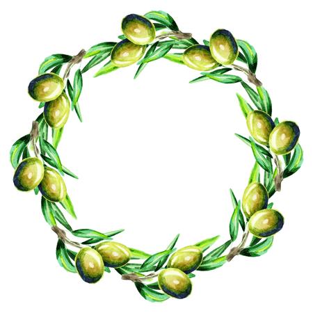 Corona di oliva. Priorità bassa dell'acquerello Archivio Fotografico - 80203337
