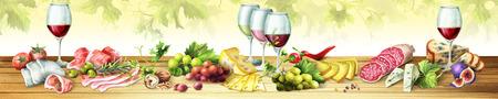 燻製肉、ソーセージ、チーズ、ワインのパノラマ画像。キッチンの skinali に使用できます。水彩