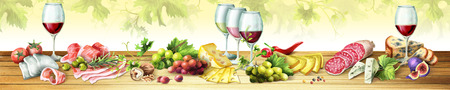 Panoramisch beeld van gerookt vlees, worstjes, kaas en wijn. Kan worden gebruikt voor keuken-skinali. Waterverf