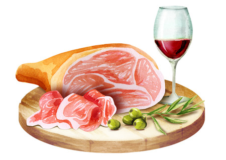 Prosciutto and glass of wine on the platter. Watercolor Banco de Imagens