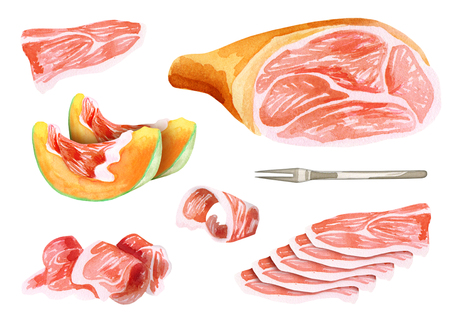 Prosciutto and Hamon set. Watercolor illustration