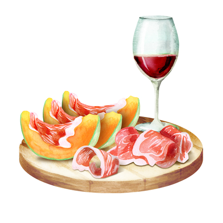 Prosciutto with melon and wine on the platter. Watercolor illustration