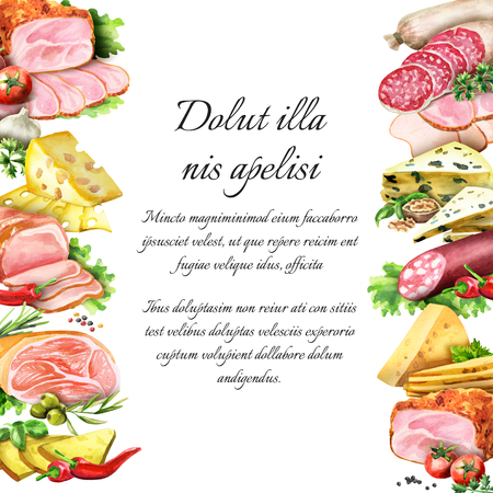 Sausage, smoked meat and cheese. Watercolor background and template Stok Fotoğraf