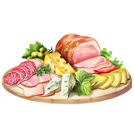 Smoked meat and cheese. Watercolor Stockfoto