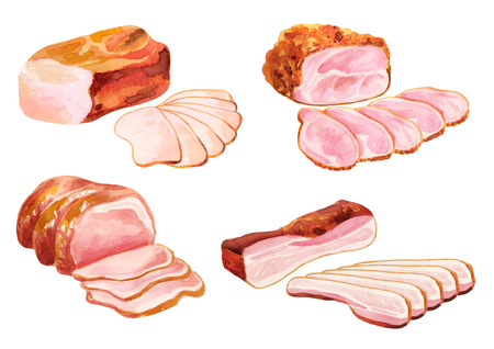 Smoked meat set. Watercolor illustration