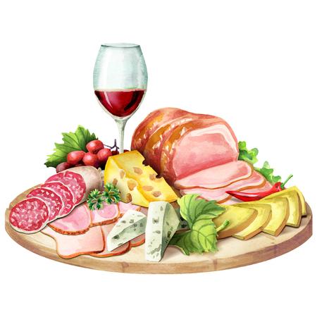 燻製肉、チーズ、ワインのガラス。水彩イラスト