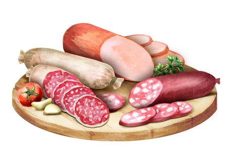 Composition with sausage. Watercolor ilustration