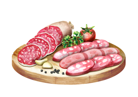 Different types of sausage on the platter. Watercolor Stock Photo
