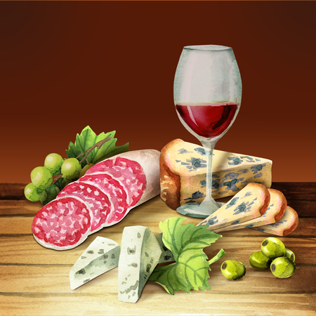 Glass of wine, smoked meat and sausage and cheese on the plate. Watercolor Stock Photo