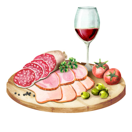 Glass of wine, smoked meat and sausages on the plate. Watercolor