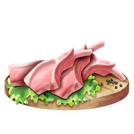 皿の上のハーブと新鮮なラム肉マトン。水彩