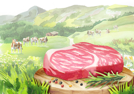Fresh raw marbled steak with spices on a plate in a landscape with cows. Watercolor Stock Photo