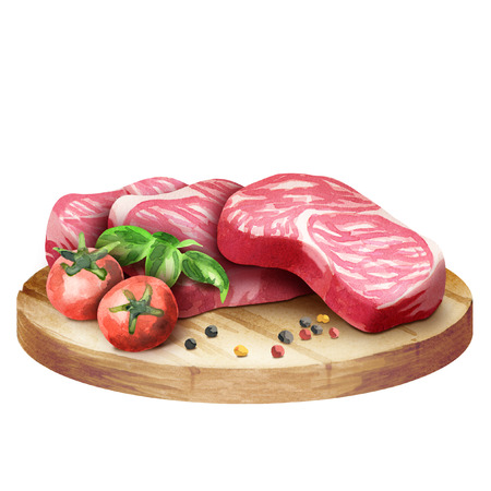 Fresh raw marbled steaks with tomatoes and spices on a plate. Watercolor Stock Photo
