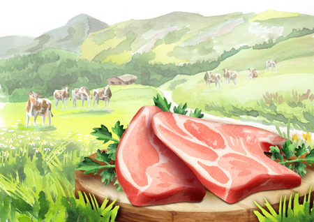 Fresh raw meat with herbs on a plate in a landscape with cows. Watercolor
