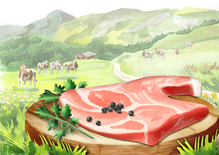 Fresh raw meat with spices on a plate in a landscape with cows. Watercolor