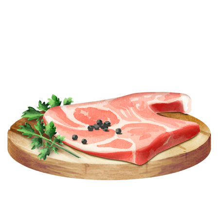 Fresh raw meat with spices on a plate. Watercolor