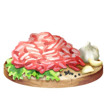 Carne macinata fresca con spezie e foglie di insalata sul piatto. Acquerello
