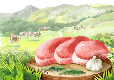 Fresh raw steak with spices on a plate in a landscape with cows. Watercolor