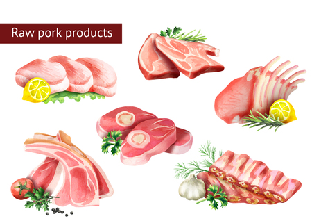 Raw pork products set. Watercolor illustration Stock Photo