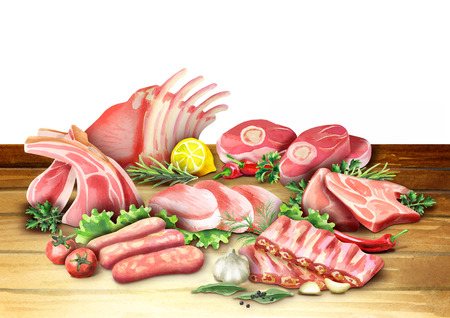 Raw pork products. Watercolor illustration