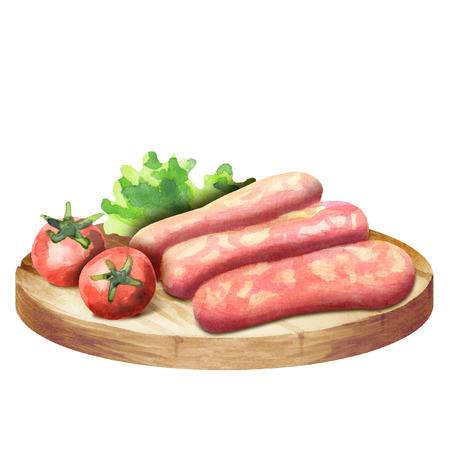Raw sausage for barbecue with lettuce and tomatoes on a plate. Watercolor Stock Photo