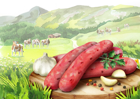 Raw sausage for barbecue with spices, lettuce and tomatoes on a plate in the landscape with cows. Watercolor