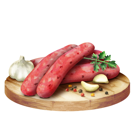 Raw sausage for barbecue with spices, lettuce and tomatoes on a plate Foto de archivo