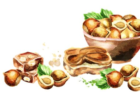 calorie: Hazelnut background. Watercolor hand-drawn template