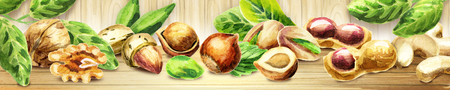 Panoramic image of nuts. Can be used for kitchen skinali Banco de Imagens
