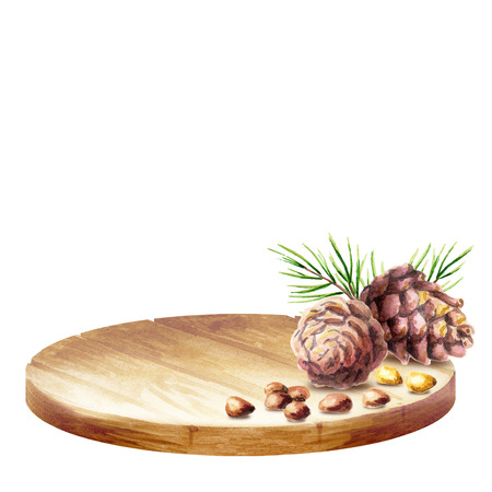 Background with platter and pine cones with nuts. Watercolor background Stock Photo