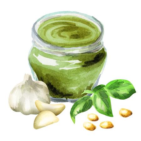 Pesto with Basil and garlic. Watercolor hand-drawn illustration