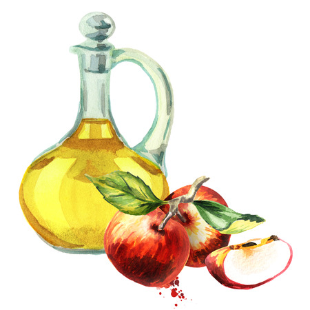 Apple cider vinegar. Watercolor Hand-drawn illustration Banco de Imagens