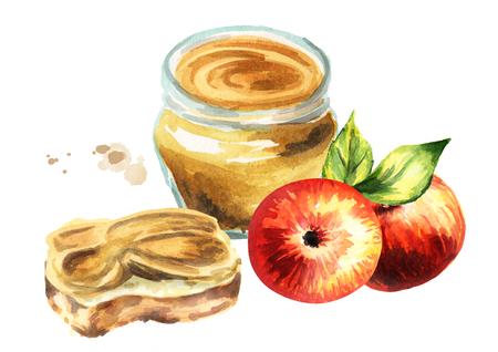 Apple jam. Watercolor Hand-drawn illustration Stock Photo