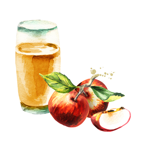Apple juice. Watercolor Hand-drawn illustration Stock Photo