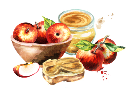Bowl with apples and jam. Watercolor hand-drawn illustration