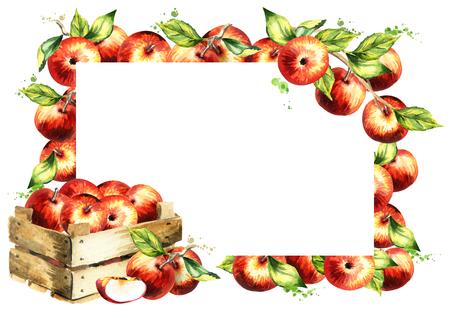 赤いりんごと葉の背景。水彩の手が選択したテンプレート