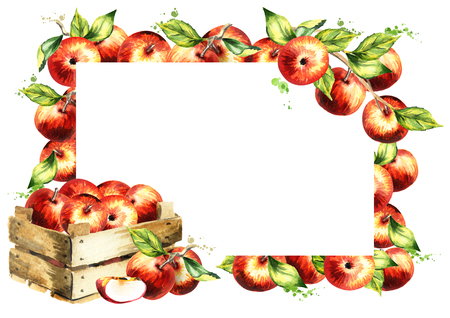Manzanas rojas y fondo de hojas. Plantilla de acuarela seleccionada a mano Foto de archivo - 83695495
