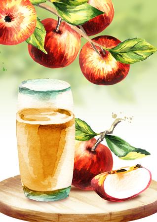 Apple cider. Watercolor hand-drawn illustration