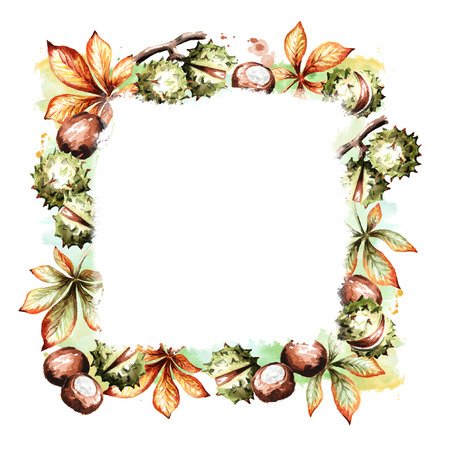 Chestnuts and leaves square template. Watercolor hand-drawn background Stock Photo