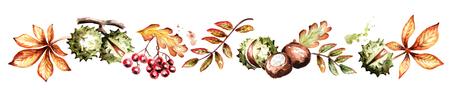 Colors of autumn horizontal. Watercolor hand-drawn illustration Standard-Bild