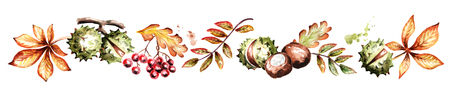 Colors of autumn horizontal. Watercolor hand-drawn illustration Stock Photo
