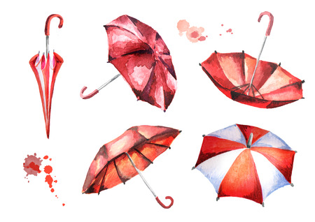 Red umbrellas set. Watercolor hand-drawn illustration Stok Fotoğraf