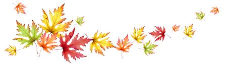 Herfst esdoornbladeren. Horizontaal panoramisch beeld. Waterverf Stockfoto
