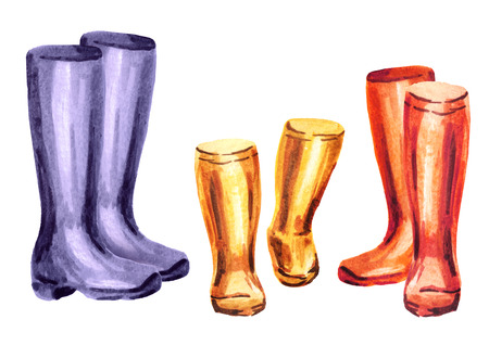Rain boots for for mom, dad and child. Watercolor hand-drawn illustration