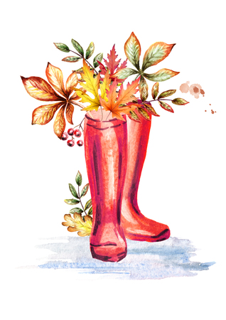 Rainboots and autumn leaves. Watercolor hand-drawn illustration Stock Photo