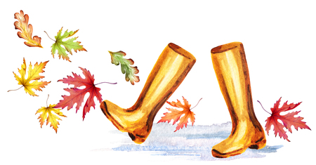 Rainboots and colorful autumn leaves. Watercolor hand-drawn illustration Stock Photo
