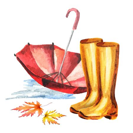 Rubber boots and umbrella. Watercolor hand-drawn illustration Stock Photo